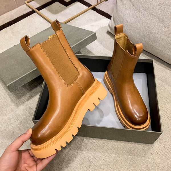 MONA MAX MARTINO CHUNKY SOLE LEATHER MID HIGH CHELSEA BOOTS - boopdo