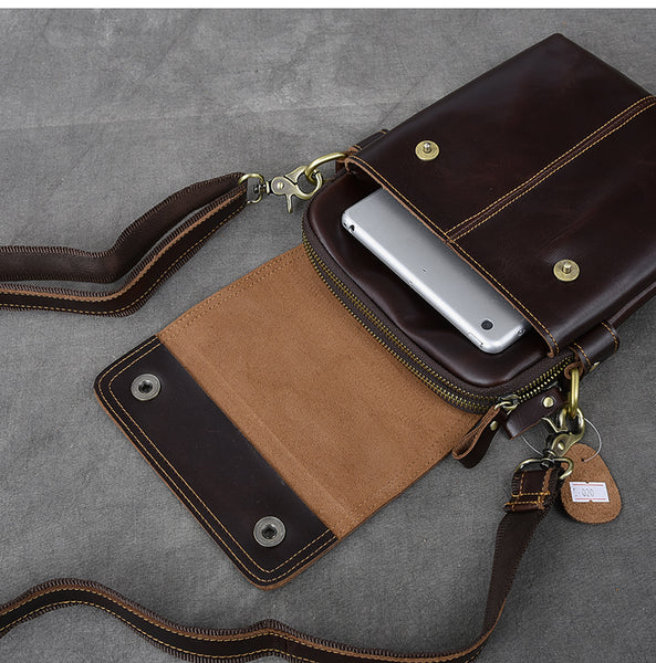 TWENTY FOURTH STREET MULTI LAYER VERTICAL SMALL COWHIDE LEATHER MESSENGER BAG - boopdo