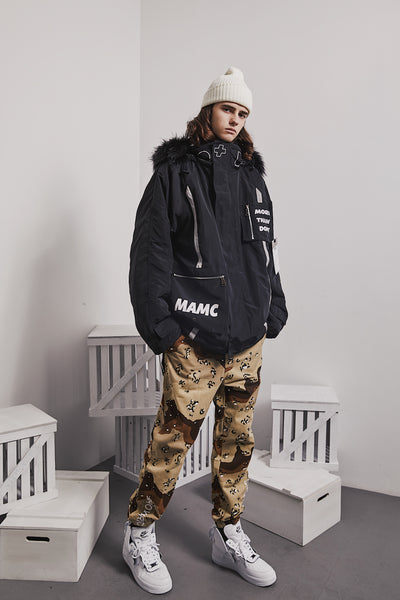 MAMC MORE THAN DOPE DOUBLE POCKET FAUX FUR COLLAR HOODED JACKET - boopdo