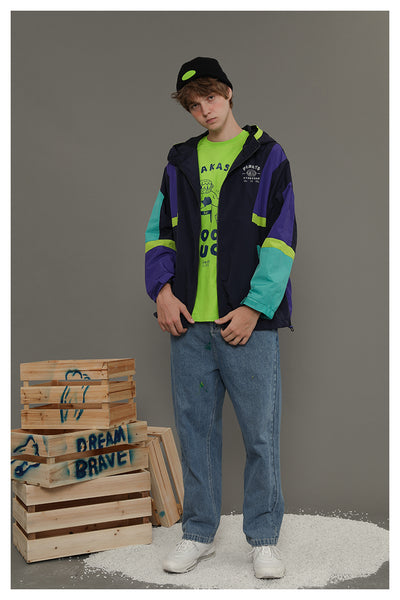 TYAKASHI UNISEX WINDBREAKER JACKET WITH LETTERS AND COLOR BLOCKING - boopdo