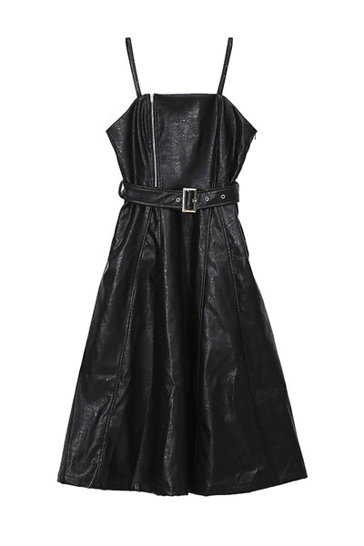 STELLA MARINA COLLEZIONE RETRO STYLE FAUX LEATHER SWING DRESS - boopdo