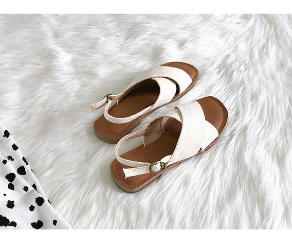 BOOPDO DESIGN WIDE FIT CROSS STRAP FLAT SANDALS