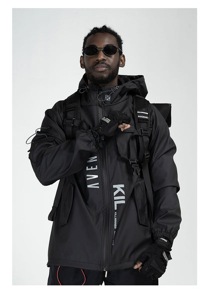 AVENTON X KILLWINNER CARPE DIEM MULTI FUNCTIONAL THICK HOODED SPORT JACKET IN BLACK - boopdo