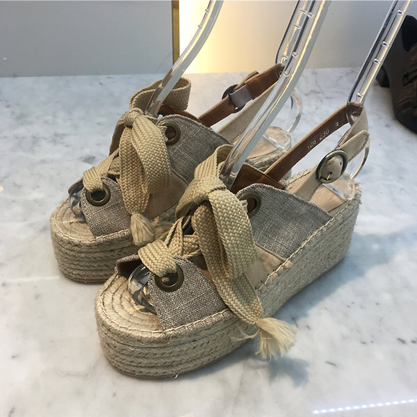 LUXE SEVEN DESIGN LACE UP ESPADRILLE WEDGE SANDALS - boopdo