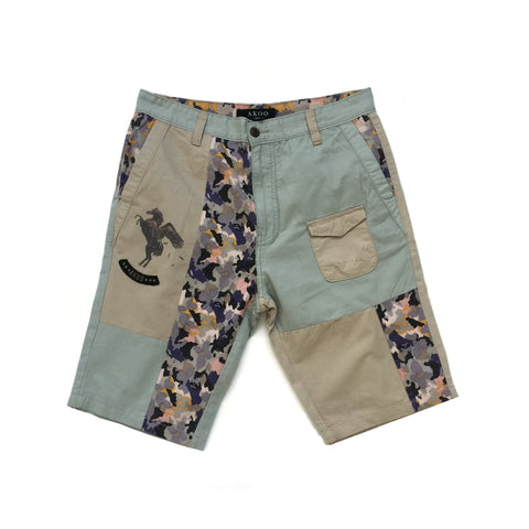 AKOO BOOPZIE PATCHWORK CAMO SHORT PANTS IN MULTI COLOR