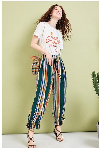 ARTKA MULTI STRIPE PLEATED HAREM TROUSERS - boopdo