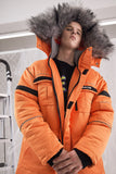 HOMIE AND MONEY ABOW LIFE DESIGN ORANGE FAUX FUR COLLAR ORANGE JACKET - boopdo