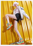 JENNIFER BAZAAR FOXY CHIC BRITISH DESIGN CHUNKY PLATFORM LEATHER SHOES IN RAINBOW - boopdo