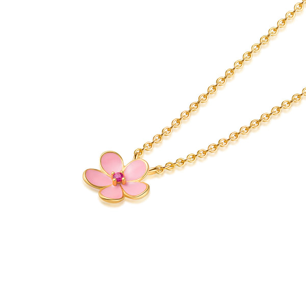LITTLE JOYS 18K GOLD NECKLACE WITH PINK FLOWER PENDANT IN GOLD - boopdo