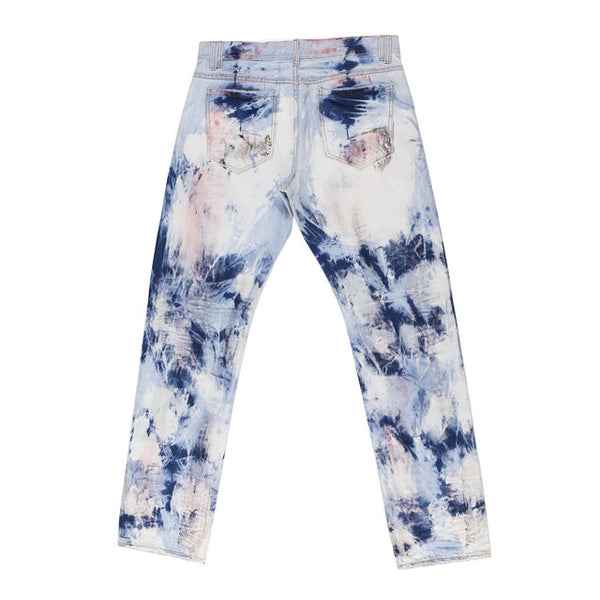 FLORIDIA EMPIRE OLD SCHOOL OFF THE WALL DENIM JEAN PANTS IN BLEACH EFFECT - boopdo