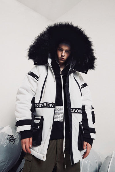 ABOW LIFE QUILTED DETACHABLE FUR COLLAR HOODED UNISEX WHITE BLACK JACKET