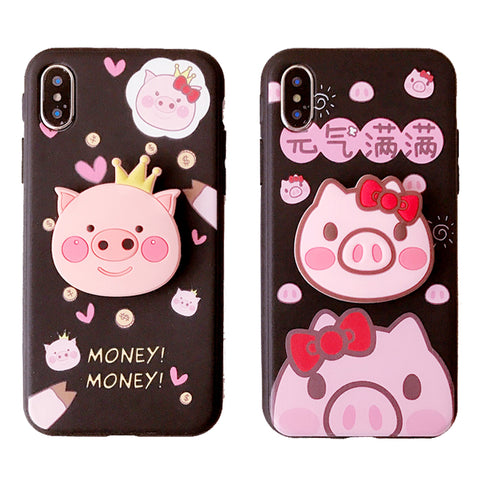 BABY PINKISH PIG CROWN APPLE IPHONE COVERS WITH CORD
