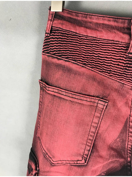 BLM DSTWUPS WASHED DENIM FABRIC RIPPED ELASTIC DENIM JEAN PANTS IN BURGUNDY - boopdo