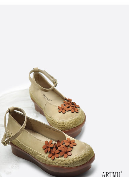 ARTMU EMBELLISHED DEIGN FLATFORM SHOES WITH ANKLE STRAP
