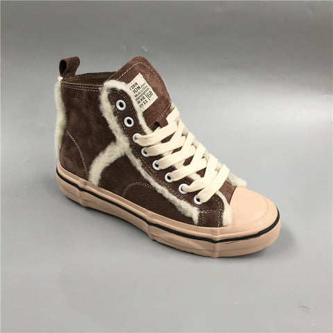 BOOPDO DESIGN HIGH TOP TRAINERS WITH FAUX FUR LINE DESIGN