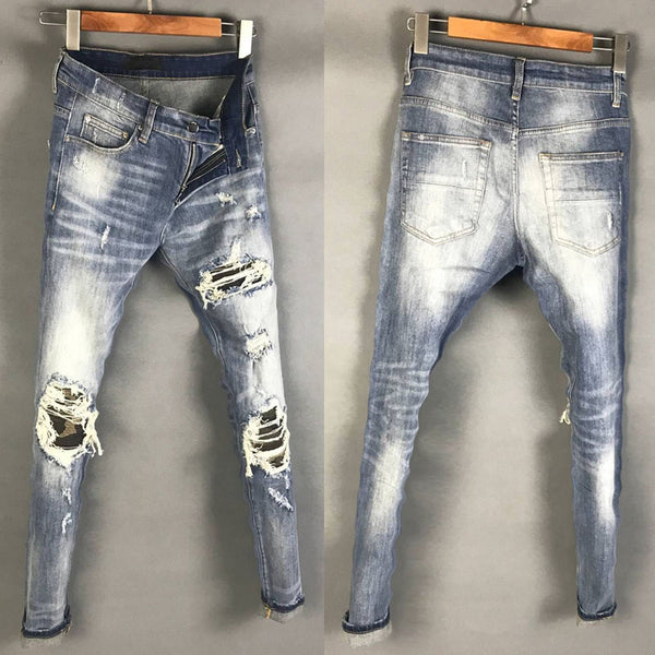 BOOPDO DESIGN AMR RIPPED PATCH WASHED DENIM JEAN PANTS - boopdo
