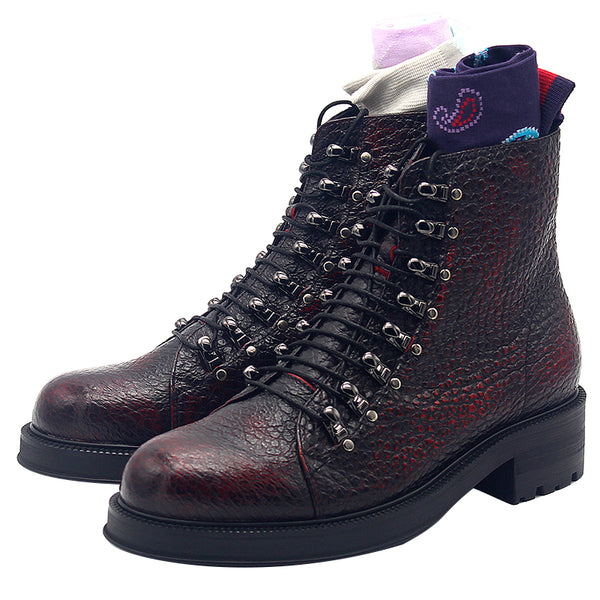 JINIWU VANGUARD OXFORD LYCHEE LACE UP LEATHER BOOTS IN BURGUNDY - boopdo