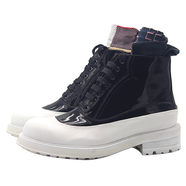 JINIWU VANGUARD OXFORD OUTDOOR LEATHER BOOTS IN WHITE BLACK - boopdo