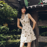 SINCE THEN TIE NECK EMBROIDERED MINI TEA DRESS