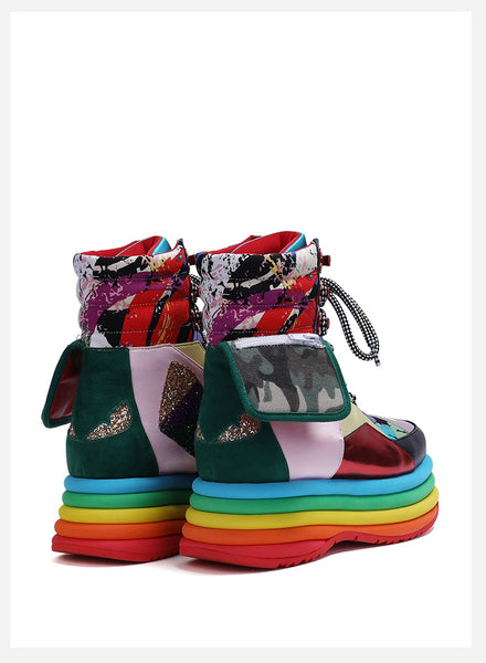 FOXY CHIC DELILAH MARTIN MAXCO CHUNKY PLATFORM SNEAKER BOOTS IN MULTI COLOR - boopdo