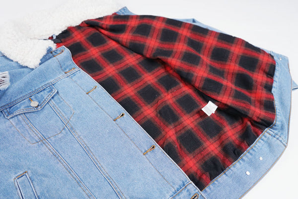 SAVAGE WINGLO ARTISTIC DESIGN RETRO PLAID LINED DENIM JACKET IN BLUE - boopdo