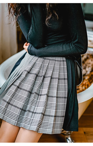8GIRLS DESIGN PLEATED SKIRT IN VINTAGE CHECK - boopdo