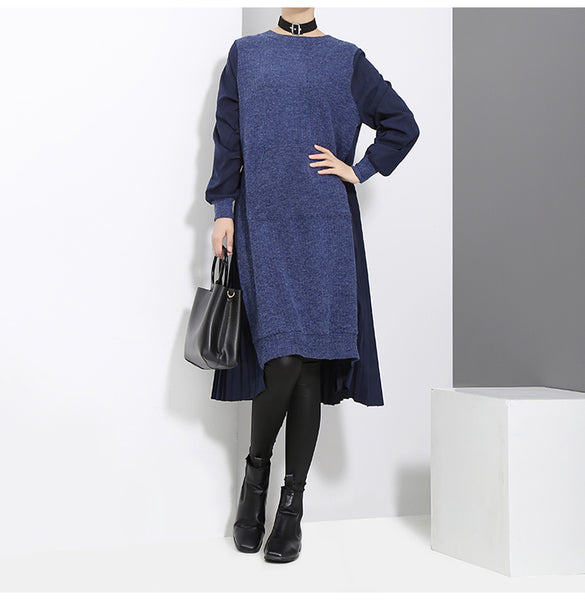 STELLA MARINA COLLEZIONE CREW NECK MID LENGTH KNITTED SWEATER DRESS - boopdo