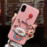 CUTE PIG GIFT BOX CARTOON APPLE IPHONE COVER - boopdo