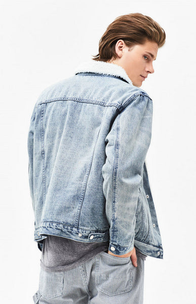 NICHE RETRO SKATEBOARD LAMBSWOOL WASHED DENIM JACKET IN NAVY - boopdo