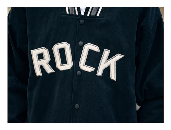 THE ROCK JUNGLE VINTAGE DESIGN CASUAL BASEBALL COLLEGE JACKET - boopdo