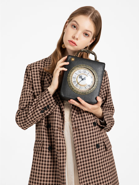 LETIFE LINDEN RETRO DESIGN DIAGONAL CLOCK SMALL SQUARE HANDBAG - boopdo