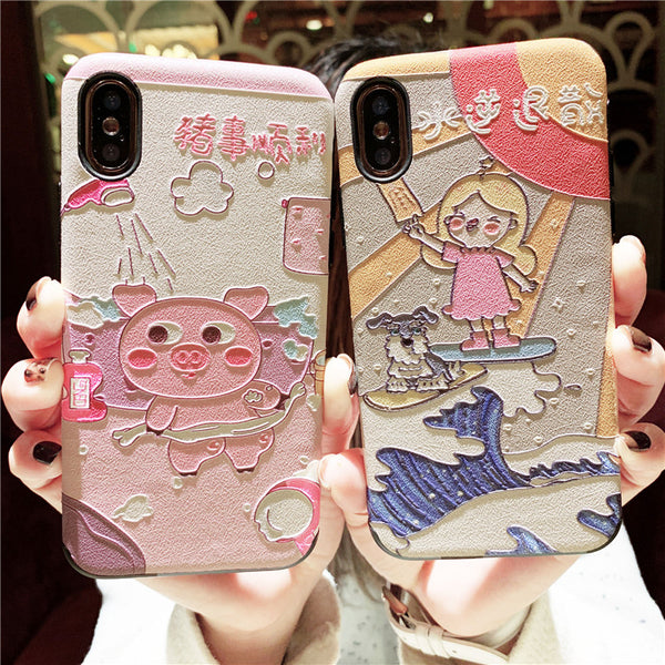 PINKISH PIG AND CUTIE GIRL CARTOON EMBOSSED ANTI FALL PROTECTIVE APPLE IPHONE CASES - boopdo