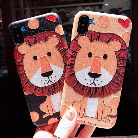 BABY LION CARTOON EMBOSSED ANTI FALL APPLE IPHONE CASES