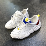 LUXE SEVEN DESIGN CHUNKY SOLE TRAINERS IN WHITE - boopdo