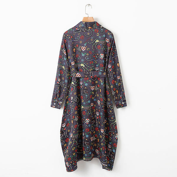 IRROLIMA FLORAL PRINT IRREGULAR LAPEL DRESS - boopdo