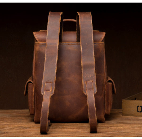 MANTIME TWENTIETHS OUTDOOR HANDMADE LEATHER BACKPACK - boopdo
