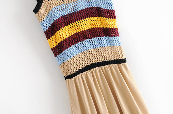 BOOPEXLIA CONTRAST COLOR STRIPED WOVEN KNIT SUMMER DRESS