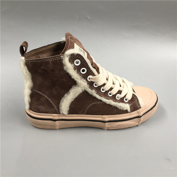 BOOPDO DESIGN HIGH TOP TRAINERS WITH FAUX FUR LINE DESIGN - boopdo