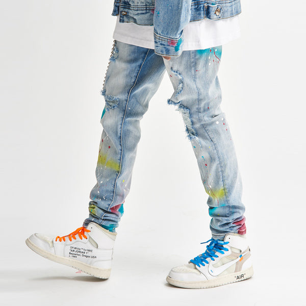 BTW BACK TO WILD TRENDY URBAN STYLE RIPPED PATCH DENIM JEAN SWEATPANTS - boopdo