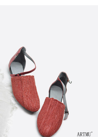 ARTMU LEATHER WOVEN MULE WITH ANKLE STRAP