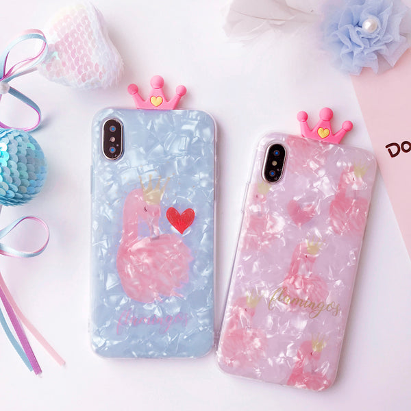FLAMINGOS EMBOSSES FROSTED SHELL APPLE IPHONE CASES - boopdo