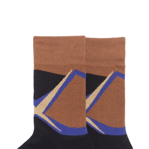 MONDAYS ABSTRACT PATTERN SOCKS IN BROWN - boopdo