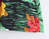FLOFALIO BEACH STYLE TROPICAL FLOWER PRINT HIGH WAIST SHORT IN GREEN