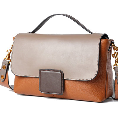 VERRAGE CONTRAST CROSS BODY LEATHER BAG - boopdo