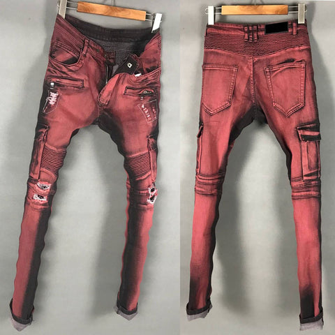 BLM DSTWUPS WASHED DENIM FABRIC RIPPED ELASTIC DENIM JEAN PANTS IN BURGUNDY