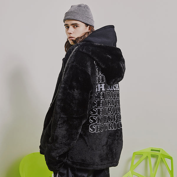 MADE BY SHOW RICH ABOW LIFE CARDIGAN FLUFFY BLACK HOODIE JACKET - boopdo