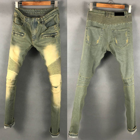 BOOPDO DESIGN WEEKEND DISTRESSES WASHED DENIM JEAN PANTS