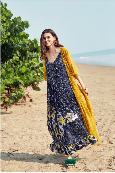 ARTKA EMBROIDERED BEACH KAFTAN IN MUSTARD