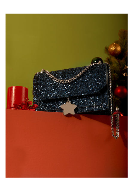 LAFESTIN GLITTER CHAIN SHOULDER BAG WITH VELVET RIBBON 619839