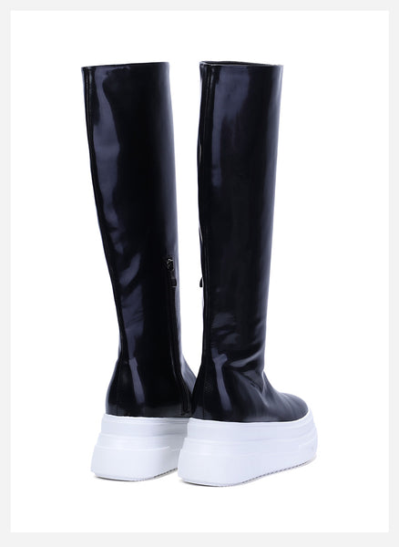 FOXY CHIC MAXSO CHARM CHUNKY PLATFORM LEATHER KNEE HIGH BOOTS - boopdo